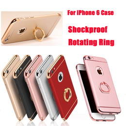 Wholesale Iphone Chrome Ring - For iPhone 7 7plus Shockproof 3 in 1 Rotating Ring Stand Armor Hard Back Case Chrome Cover For iphone6 6plus DHL SCA151