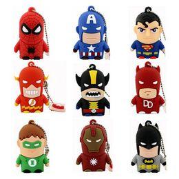 Wholesale Hero Flash Memory - Gift Novelty Superhero Cartoon Character USB Flash Drive Supe Hero Bulk Cheap 2GB 4GB 8GB 16GB PVC Spiderman Batman Cartoon USB Memory Stick