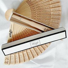Wholesale Personalized Wedding Fans - 50PCS Wedding Folding Hand Fan With Box Personalized Wedding Favor And Gift For Guests Wooden Hollow Out Sandalwood Fan Print Name & Date