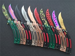 Wholesale Wholesale Metal Spring Clips - CSGO Butterfly Knife Cross Fire 440C Steel Clip Point Plain Sharp metal handle balisong EDC Pocket knives with nylon sheath Spring Latch