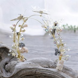 Wholesale Feather Butterfly Hair Accessories - Fashion Wedding Bridal Crown Tiara Crystal Rhinestone Headband Headpiece Hair Accessories Jewelry Princess Queen Butterfly Headdress Gold