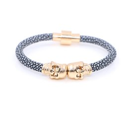Wholesale Stingray Bracelet Wholesale - 2016 New Fashion Northskull Stingray Leather Skull Bracelet Twin Skull Bracelets Bangles for Man Women Jewelry Gift