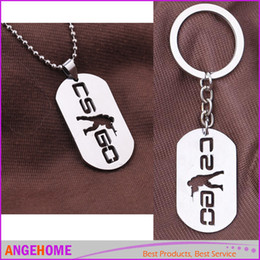 Wholesale Game Counters - Game CSGO Stainless Steel Necklace Keychain Counter Strike CS GO Metal Key Chains For Men Male Keying