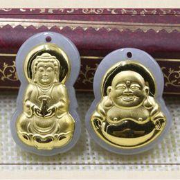 2019 hellgrün jade anhänger gold China traditionellen natürlichen Myanmar Jadeit Anhänger Gold mit Jade Buddha Statue Ice Maitreya Light Green Schmuck für Frauen eingelegt günstig hellgrün jade anhänger gold