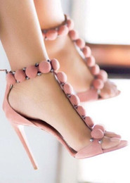 Wholesale Purple Strappy Heels - 2016 Newest kim kardashian inspired heels Shoes ss14 suede strappy sandals Buckle Strap woman shoes high heels sandalias scarpe donna