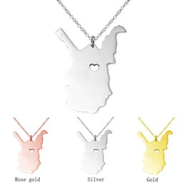 Wholesale Forms Gold - Stainless steel West virginia state & Wisconsin State Necklace, Charm Necklaces in card Form With A Heart Personalized Necklace State