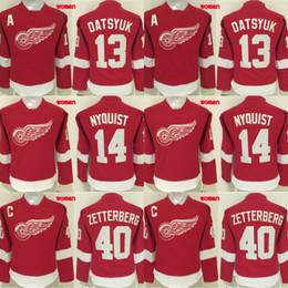 Wholesale Pavel Datsyuk Hockey Jersey - Lady Detroit Red Wings Jersey 13 Pavel Datsyuk 14 Gustav Nyquist 40 Henrik Zetterberg 100% Stitched Embroidery Logos Hockey Jerseys