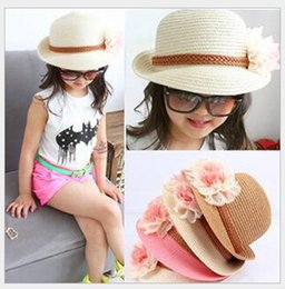 Wholesale Girls Straw Fedora Hats - 2016 New Baby Girl Flower Caps Girls Summer Beach Sun Hat Cute Baby Two Flowers Straw Hats Children Straw Fedora Hat Kids Jazz Cap 4 Colors