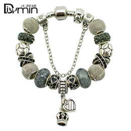 Wholesale Shape Porcelain - 2016 Fashion Women 925 Silver plated Heart-shaped   Crown Crystal Bead Charm Bracelet Murano Fine Jewelry Beads Charm DIY Original Gift