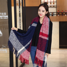 Wholesale Plaid Mohair - Scarf Female Autumn And Winter Lmitation Cashmere Circle Yarn Knitted Bib Mohair Long Warm Shawl Fashion Style Scarf