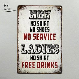 Wholesale Wholesale Man Cave - Wholesale- DL- Men No Shirt Sign No Service Ladies Free Drinks Man Cave Bar Tavern Frat House decor