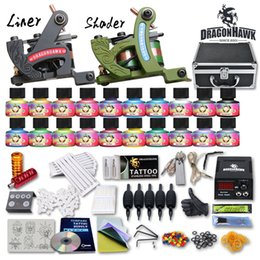 Wholesale Tattoo Gun Tips - Details about Top Tattoo Kit 2 Machine Gun 20 USA color Inks Tip Power Supply Set 50 Needle 10-24GD-13