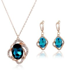 Wholesale Wholesale Jewelry Korea China - Earrings Necklaces Sets Fashion Women Elegant vintage korea style best quality necklace for women Rhinestone Gold Plated Jewelry Sets
