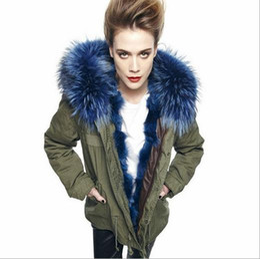 Wholesale Fiber Fox - Mr&mrs furs mini parkas blue real fox furs liner hood with raccoon fur collar women winter warm furs coat