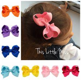Wholesale School Hair Bows - 20pcs lot Korean 3 Inch Grosgrain Ribbon hair Bows Accessories With Clip Boutique Bow Hairpins for School Baby Children Hair Ornaments 563