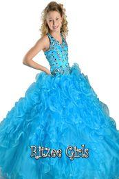 Neue 2016 Mädchen Festzug Kleider Ansprechende Sky Blue Halter Ballkleid Schöne Perlen Kristall Tiered Birthday Party Kinder Blumenkleider von Fabrikanten