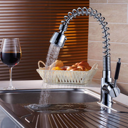 Wholesale Luxury Pull Out Kitchen Tap - Wholesale- Hot Sell Chrome Kitchen Faucet Dual Handle Single Hole Luxury Sink Mixer Taps Pull Out Spray Bathroom Basin Kitchen Tap CH-8011
