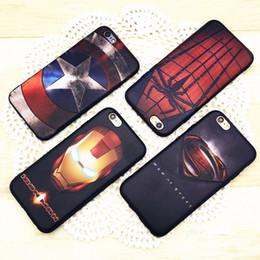 Wholesale Spiderman Soft Case - New TPU Soft Phone Case For Iphone 7 Plus I7 6 6S Plus Superman Iron man Steel Cartoon Spiderman Captain American Phone Skin Cover