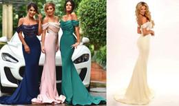 Haute qualité vert émeraude bleu marine rose jaune robe de soirée hors de l'épaule femmes porter robe de bal parti formelle robe ? partir de fabricateur