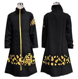 Wholesale Trafalgar Law New Costume - Wholesale-2016 New Japanese Anime Cosplay Two Years Later One Piece Trafalgar Law Cosplay Costume Black Cloak Trafalgar Law