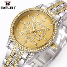 Wholesale Petal Watch - Women's Dress Quartz Watches Luxury Petal Decoration Diamond Dial Design for Ladies Wristwatches Waterproof Quartz Battery Watch Brand BELBI