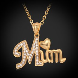 Wholesale Initial Gold - U7 Love Gift for Mother MUM Letters Heart Pendant Necklace 18K Real Gold Platinum Plated Rhinestone Fashion Women Jewelry Accessories