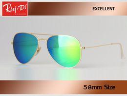 Wholesale Reflective Sunglasses - Top quality Classic Rlei di reflective Aviation Sunglasses women men's 58mm 62mm HD Lens Driving Sun Glasses UV400 rays beach gafas sol