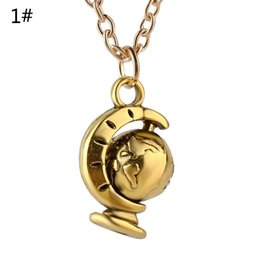 Wholesale Earth Globe Necklace - punk silver copper plated alloy Statement Earth necklace rotatable rotate whirl Rotating Movable pendant globe necklace women 2017 x331