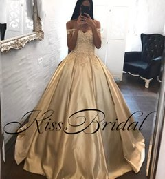 Wholesale Prom Girl Pageant Dresses - Gold Champagne 2018 Prom Dresses Lace Applique Off The Shoulder Satin Formal Evening Gowns Dubai Arabic Girls Pageant Dress