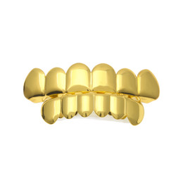 Wholesale grill fitting - New Custom Fit 14k Gold Silver Plated Hip Hop Teeth Grillz Caps Top & Bottom Grill Set
