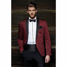 Wholesale Prom Dresses Tuxedos - Wholesale- Fashion One Button Burgundy Groom Tuxedos Groom Men's Wedding Prom Suits dress wear wedding men suit (Jacket+Pants+Girdle+Tie)