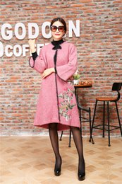 Wholesale Cardigans Style For Women - 2017 Autumn and Winter Floral Embroidery women coat long Knitted Cardigan for Women Loose Free-size with Exquisitely Pink brand sweater