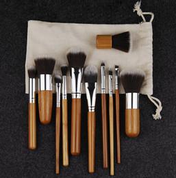 Wholesale Hair Brusher - New Bamboo Professional 11pcs Makeup Brushes Set Foundation Blending Brush Tool Cosmetic Kits Makeup Set Multi-function Brusher