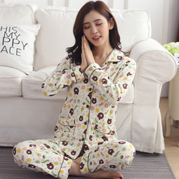 Wholesale Girls Pyjama S - Wholesale- 2017 New women long-sleeve cotton sleep pajama sets female nightwear girl character Pyjamas nightgowns teenage pijamas sleepwear