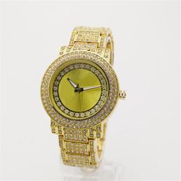 Wholesale Quartz Crystal Clocks - Large letters Clock dial Rhinestones Quartz Watches Famous Luxury Crystal Dial Bracelet Quartz Wrist Watch stainless steel men women Watch