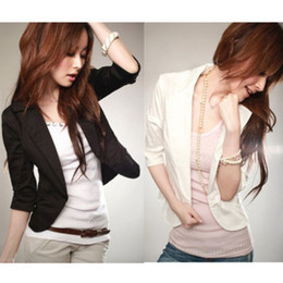 Wholesale Small Suit Jacket Women - Wholesale-Women's Sexy 3 4 Sleeve One Button Small Suit Short Jacket Blazer Size S-XXXL