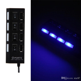 Wholesale Slim Port Usb Hub - Slim 4 Ports USB 2.0 Hub LED New High Speed USB Hub With Power on off Switch Cable For Laptop PC Computer