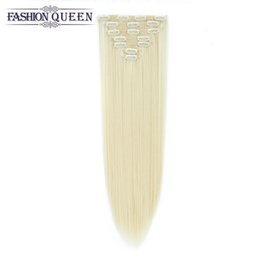 Wholesale Blonde Synthetic Hair Extensions - 22'' Straight Full Head Clip in Hair Extensions 70g Thick Real Natural Synthetic Hair pieces #613 Brown Black Blonde White Clip On Hair