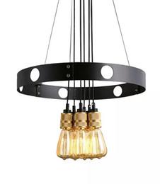 Wholesale Fluorescent Light Bulb Chandelier - New Edison bulb chandelier, iron circle, creative chandelier, retro restaurant Chandelier LLFA