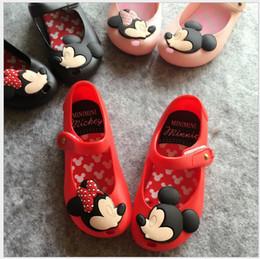 Wholesale Toe Loop Sandals Wholesale - 2016 Cute Baby Mickey Minnie Sandals Girls Cartoon Soft Bottom Shoes Kids Summer Autumn Beach Sandals Children Toddler Girl Princess Shoes