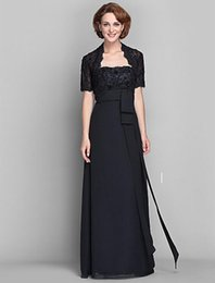 Wholesale Strapless Mother Bride Dress - Black Mother's Dresses With Jacket Short Sleeves Floor-length Chiffon with Appliques Sheath Mother of the Bride Dress