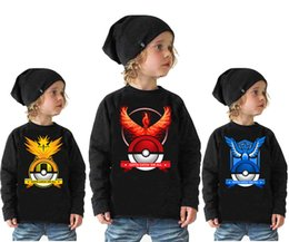 Wholesale Turtle Neck Girls Shirts - Children pokémon go T shirts kids Poke Ball T-shirts Boys girls Pikachu Jeni turtle Charmander Print tank tops Pattern long sleeve Tee