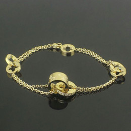 Wholesale Rose Gold Clover Bracelet - Bicyclic Four Leaf Clover Pattern Bracelets With Diamond For Women 316L Stainless Steel 18K Rose Gold Plated New Luxury Fashion Jewelry