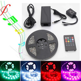 Wholesale Ir Key - Music LED Strip Light 5M 5050 RGB Waterproof 300LEDs Flexible LED Strips with 20-key Music Sound Sense IR Controller + 12V 5A Power Supply