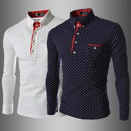 Wholesale Slim Dresses Korea - New 2016 Korea Slim men's shirts Casual long sleeve dot mens shirts Fashion Turn-down collar men's shirts white 100% Cotton
