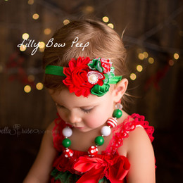 Wholesale Beautiful Rose Child Flowers - New children hair band baby Christmas Headwear, beautiful rose chiffon flower with pearl stretch hair ribbon