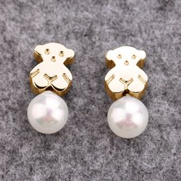 Wholesale Original Gold Earrings - Fashion High Quality No Fade Brand Jewelry Original Design stainless steel bears shell pearls jewelry stud earring for women