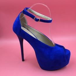 Cinturino in tacco blu royal online-Royal Blue Super High Heel Donne Pompe Cinturino alla caviglia Piattaforme aperte Peep Toe Tacchi blu Scarpe Sapato Feminino Sexy True To Size