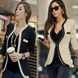 Wholesale Korean Women Fashion Suits - 2017 New Fashion Women Suit Coat Jacket Vestidos Casual OL Work Suit Casual Korean Ladies White Black Suit Blazers S-XL