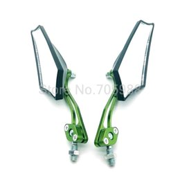 Wholesale Mirrors For Motorbikes - Green and black (can choose other color )Universal 8mm 10mm Screw motorbike rearview mirrors side mirrros for bicycle